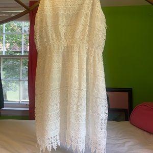 White woven tank dress